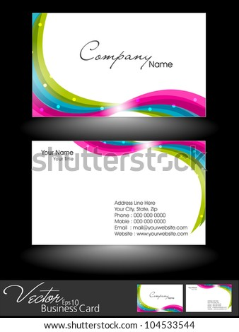 Abstract beautiful bright color professional and designer business card template or visiting card set with colorful wave pattern. EPS 10. Vector illustration. - stock vector
