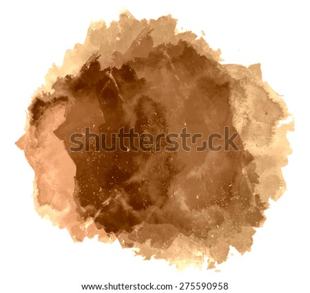 Abstract beautiful bright watercolor art hand paint on white background. Grunge vector illustration. Isolated copy text template. Spring summer colors. Brown aged coffee shades. Fashion trend hues. - stock vector