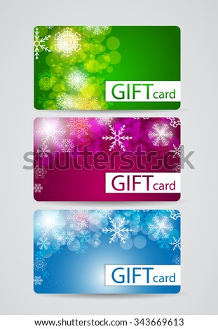 Abstract Beautiful Gift Card Christmas Design Set, Vector Illustration. EPS10