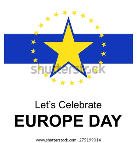abstract beautiful gold star design elements. Let's celebrate Europe day. 9 May European union vintage badge label, banner template blue background. vector illustration