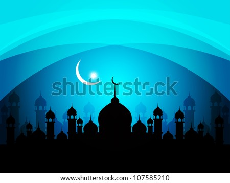 abstract beautiful religious eid background with mosque. Vector illustration - stock vector