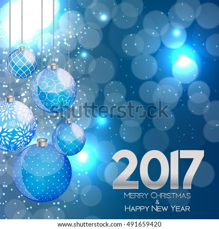 Abstract Beauty Christmas and 2017 New Year Background. Vector Illustration. EPS10