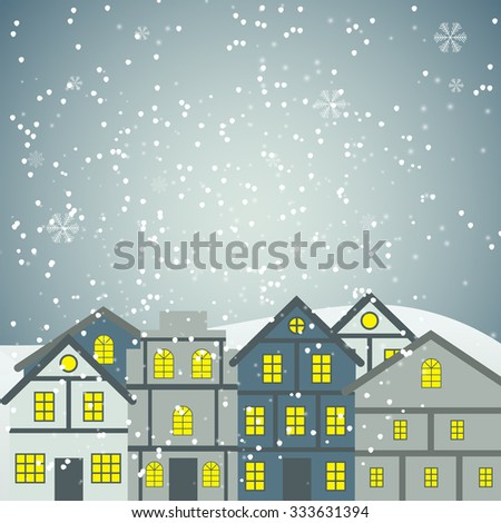 Abstract beauty Christmas and New Year Background with Little Town. Vector Illustration EPS10 - stock vector