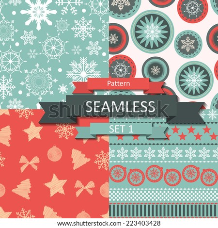 Abstract Beauty Christmas and New Year Seamless Pattern Set, Vector Illustration. EPS10  - stock vector