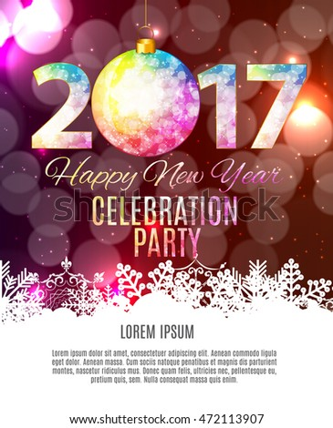 Abstract Beauty 2017 New Year Celebration Poster Background. Vector Illustration EPS10