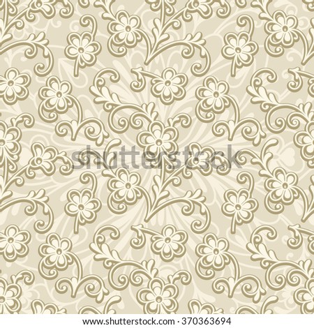 Abstract beige floral ornament, vector seamless pattern of small flowers - stock vector