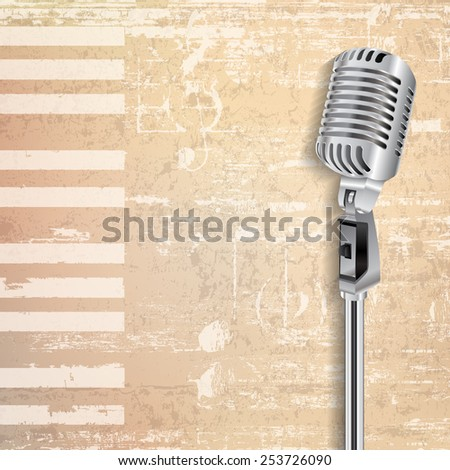 abstract beige grunge piano background with retro microphone - stock vector