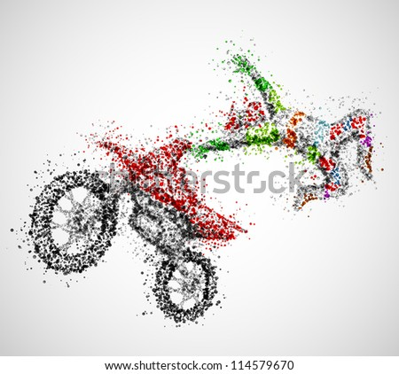 Abstract biker from circles. Eps 10 - stock vector