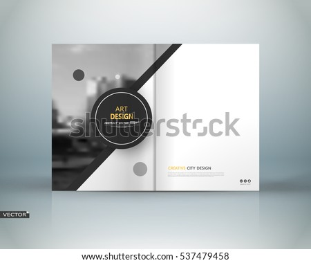 Abstract binder art. White a4 brochure cover design. Info banner frame. Black circle figure icon. Ad text font. Title sheet model set. Modern vector front page. City view texture. Elegant flyer fiber