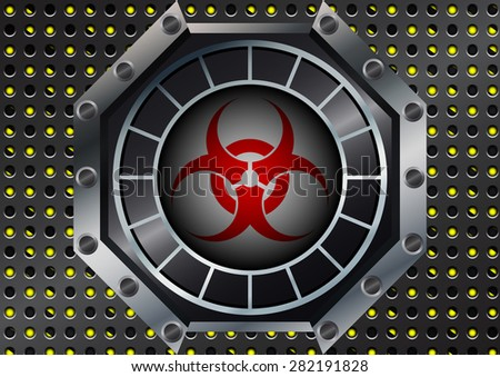 Abstract bio hazard Symbol with metal grid on yellow and black stripes - stock vector