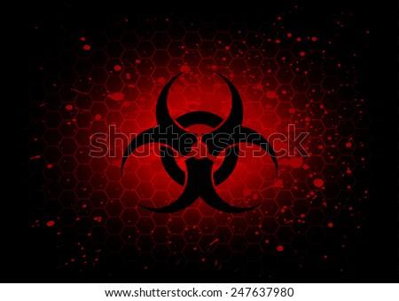 Abstract  biohazard symbol dark red background - stock vector