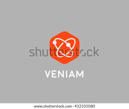 Abstract biotechnology molecule atom dna logo design template. Medicine, science,  technology, laboratory, logotype vector icon. - stock vector