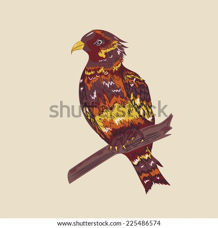 Abstract bird in hand drawn style, vintage background. - stock vector
