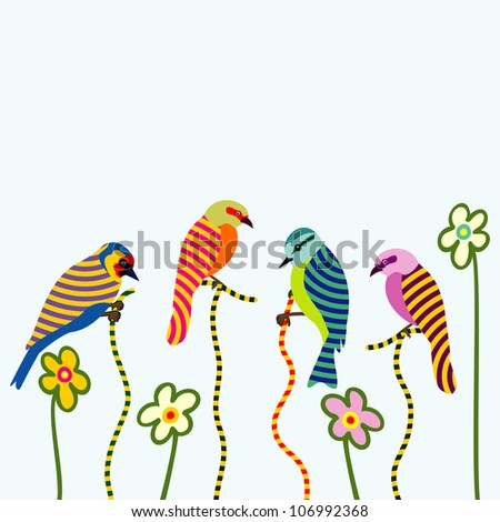 abstract birds and flowers - stock vector