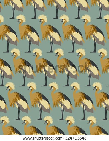 Abstract birds background, fashion seamless pattern, vector wallpaper, vintage fabric, creative graphic shadoof ornaments - stock vector