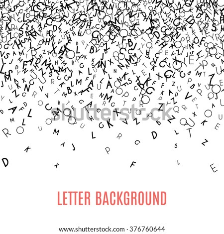 Abstract black alphabet ornament border isolated on white background. Vector illustration for education, writing, poetic design. Random letters fall from top. Alphabet book concept for grammar school.
