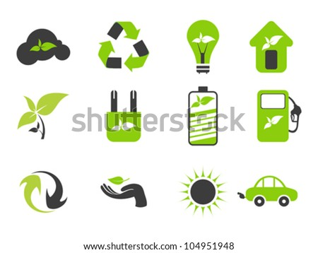 abstract black and green eco icons vector illustration - stock vector