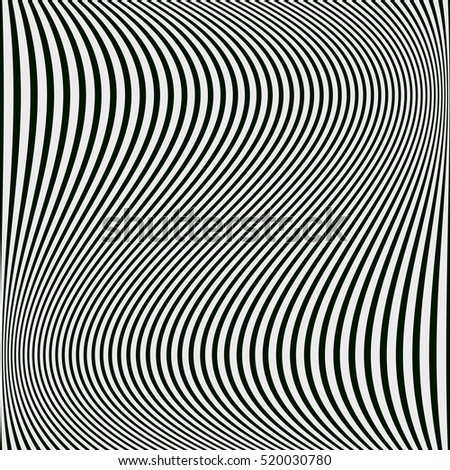 Abstract black and white background of wavy lines