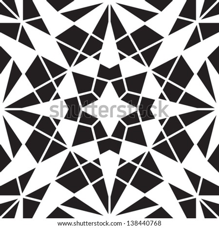 Abstract black and white background, vector geometric seamless pattern