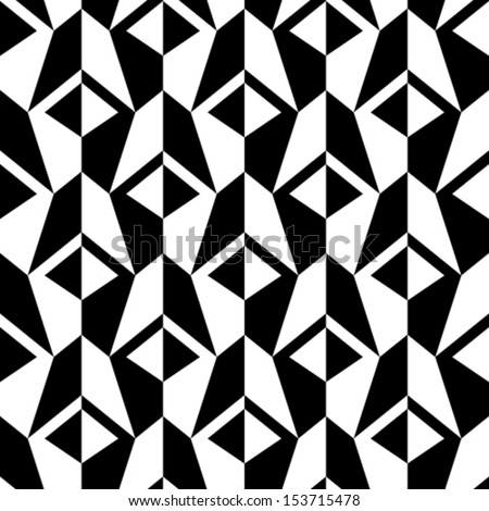 Abstract black and white background, vector geometric seamless pattern - stock vector