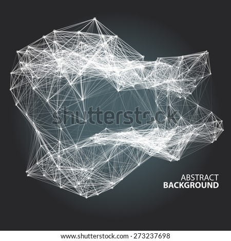 Abstract black and white background with dots and lines on theme digital technology and internet - stock vector