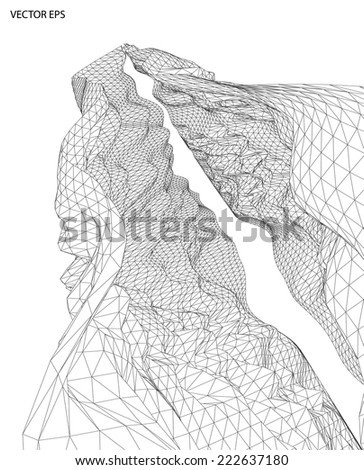abstract black and white background with wireframe - stock vector