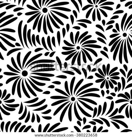 Abstract black and white floral seamless pattern - stock vector