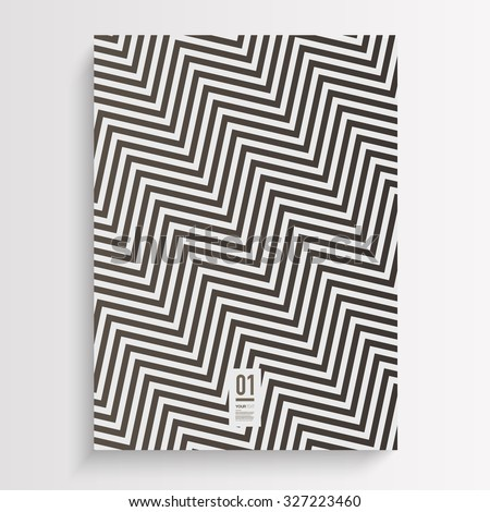 Abstract black and white flyer or book cover design with zig-zag pattern background and your text  Eps 10 stock vector illustration  - stock vector