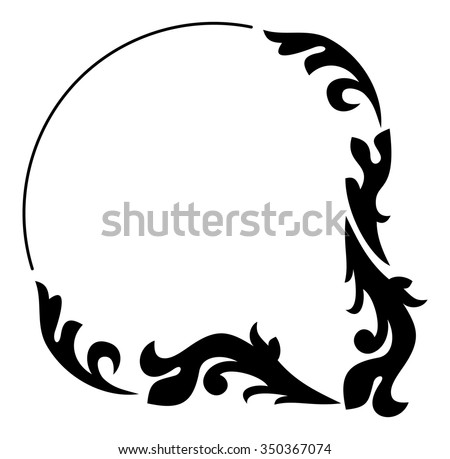 Abstract black and white frame with floral elements - stock vector
