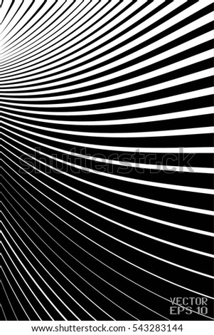 Abstract Black and White Geometric Pattern with Waves. Striped Structural Texture Checkered. Vector Illustration