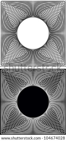 Abstract black and white lines one layer reversed to form a square to a circle - stock vector