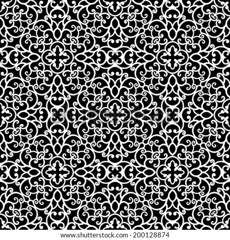 Abstract black and white ornament, lace texture, vector seamless pattern - stock vector