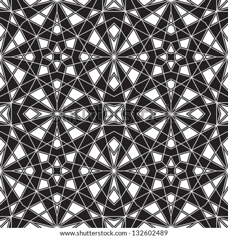 Abstract black and white ornament, vector geometric seamless pattern