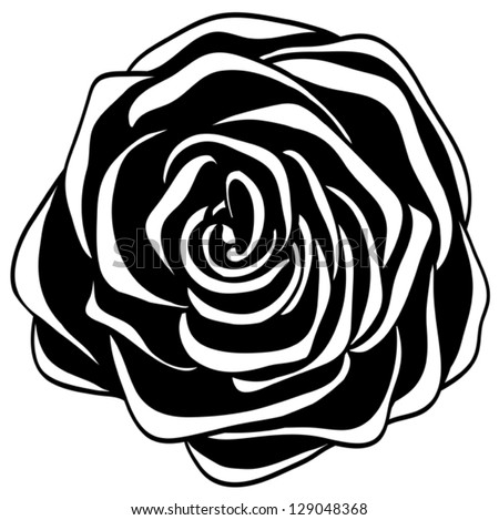 abstract black and white rose. Many similarities to the author's profile - stock vector