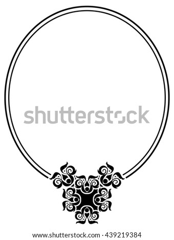 Abstract black and white round vector frame. - stock vector