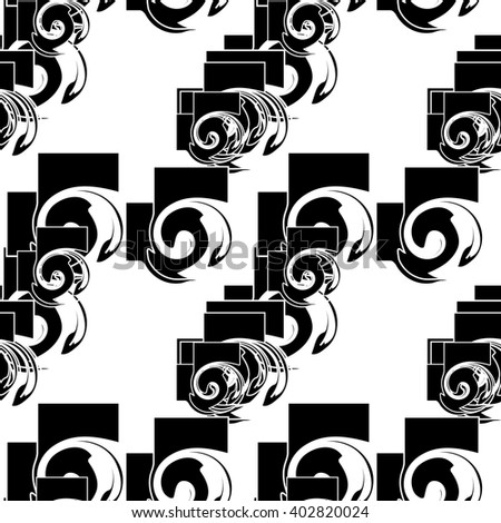 Abstract black and white seamless geometric pattern. Vector background for print onto fabric, textile and wallpaper.