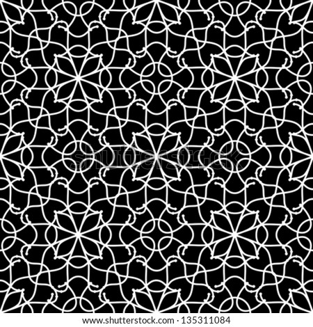 Abstract black and white seamless pattern, geometric background, vector lace ornament - stock vector