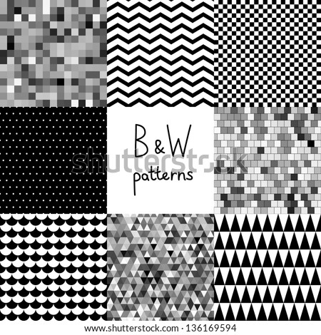 Abstract black and white seamless patterns set, vector - stock vector