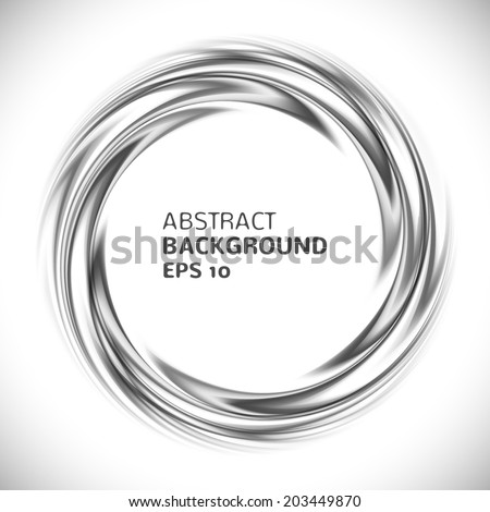 Abstract black and white swirl circle background. Vector illustration for you modern design. Round frame or banner with place for text. - stock vector