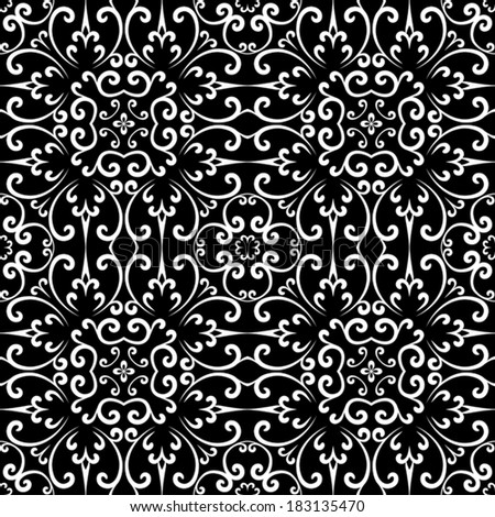 Abstract black and white swirly ornament, vector seamless pattern - stock vector