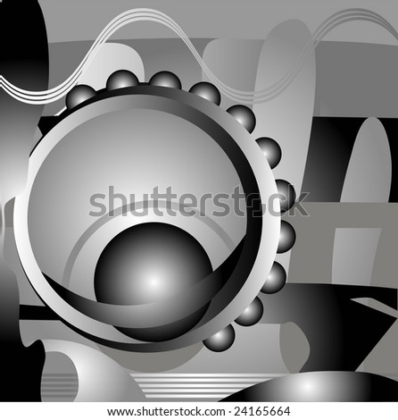Abstract  black and white technological background - stock vector