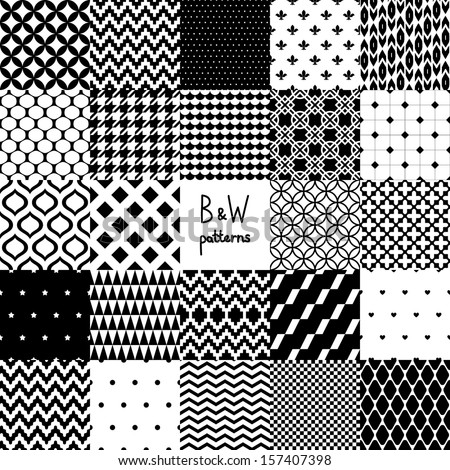 Abstract black and white twenty four various seamless patterns set, vector - stock vector