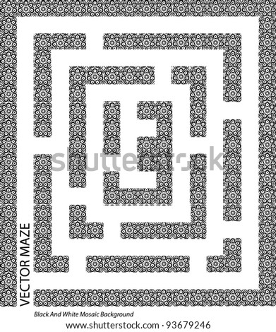 abstract black and white vector maze made of mosaic pieces isolated on white background with place for your text,creative computer graphic design,page layout