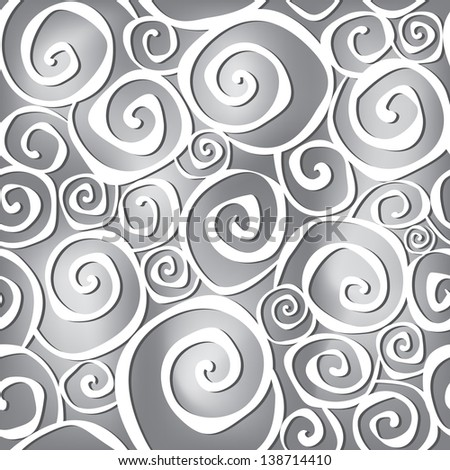 Abstract black and white wavy background in 1960s fabric style. - stock vector