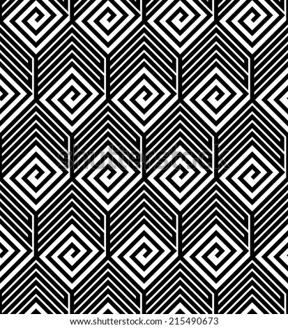 Abstract Black and White ZigZag Vector Seamless Pattern