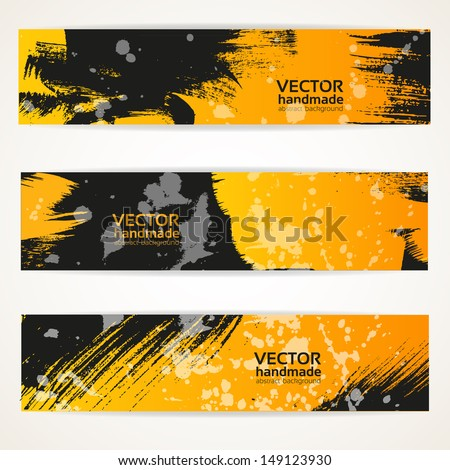 Abstract black and yellow vector hand draw banner set - stock vector