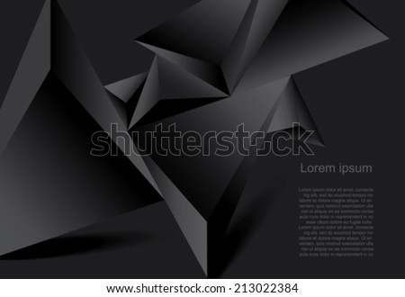 Abstract black background geometrical polygonal form - stock vector