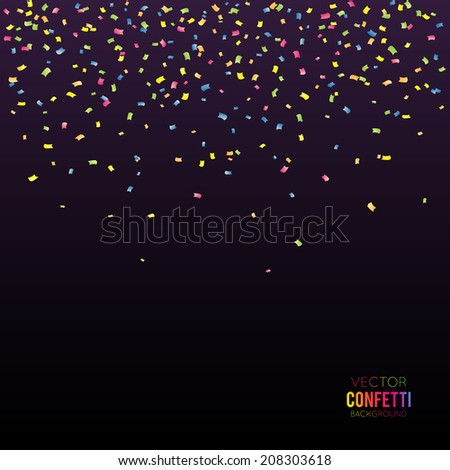Abstract black background with falling confetti - stock vector