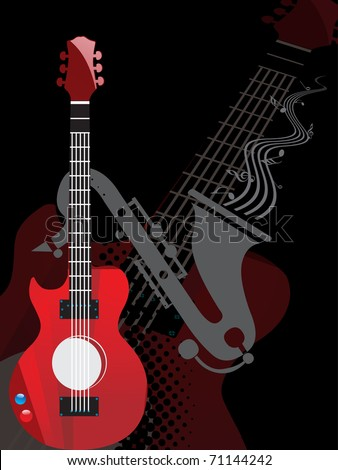 abstract black background with guitar, saxophone