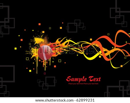 abstract black background with isolated burning ball - stock vector